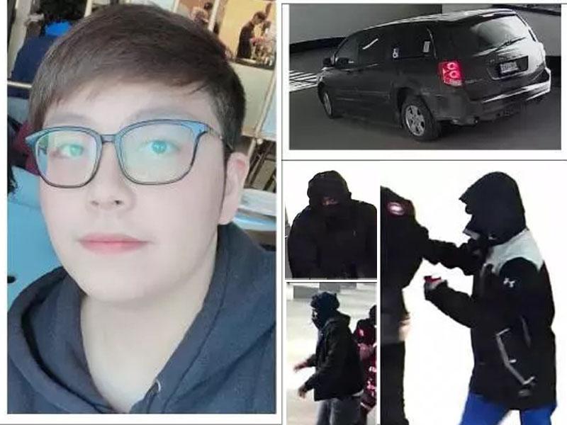 加拿大22歲中國留學生被綁架,警方公布事主照片及閉路電視畫面,呼籲公眾提供線索。(網圖)