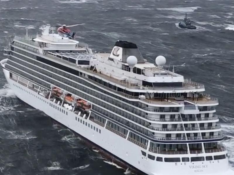 挪威「维京天空号」周六在西部海域遇到大风浪,引擎发生故障,当局派出直升机通宵疏散乘客。