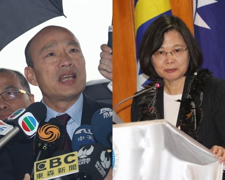 韓國瑜(左)、蔡英文(右)。網圖