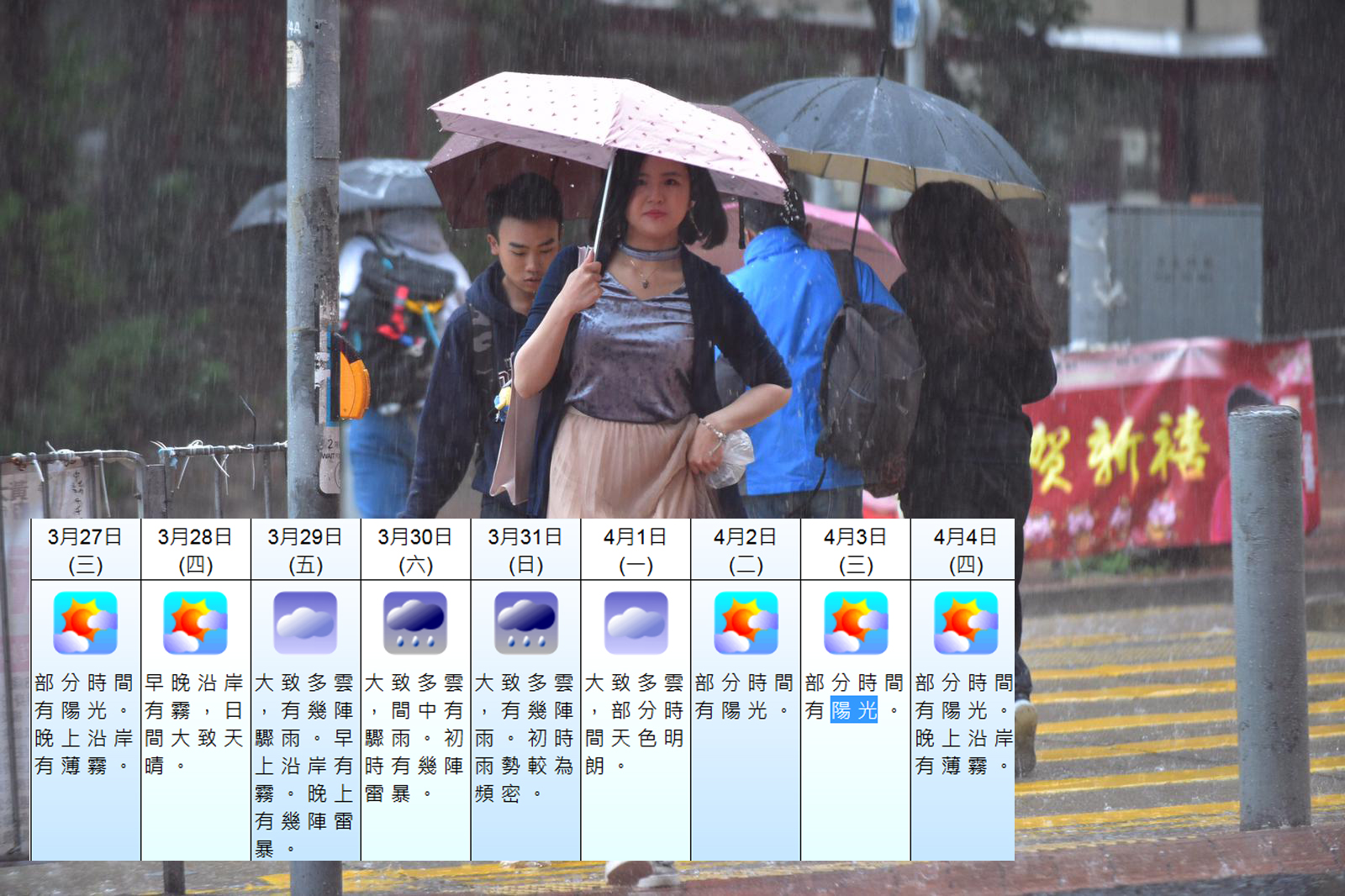 受高空擾動影響,本周後期華南有雷雨。 資料圖片及天文台網頁截圖