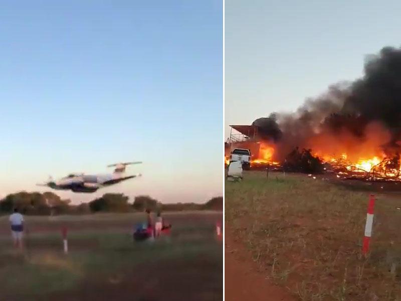 男飛機師開小型飛機發動自殺式撞擊後,會場陷入一片火海,冒出濃濃黑煙。(網圖)