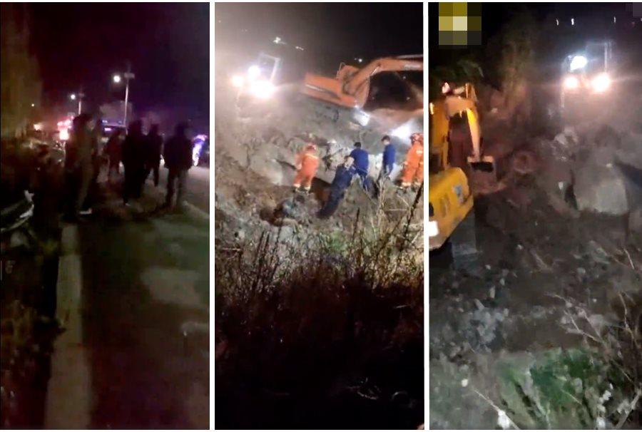 雲南大理污水沉井發生氣體燃爆,造成3死5傷。  網上影片截圖