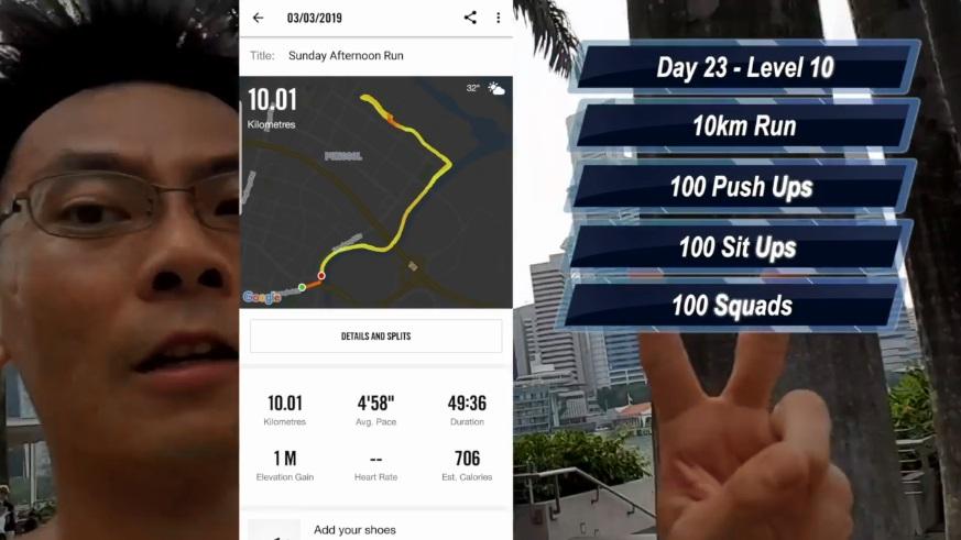 到了第22天,Sean Seah 將訓練強度提升到第9級。  Facebook截圖