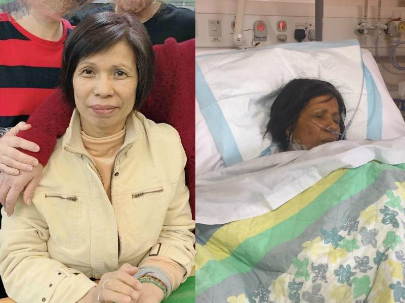 61歲的郭玉治急性肝衰竭,現已陷入半昏迷狀態。家人提供