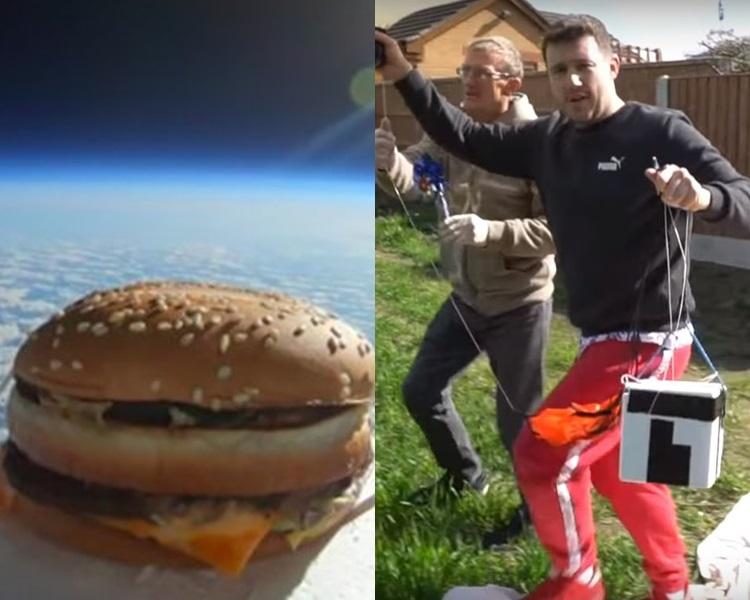 一名YouTuber送「巨无霸」上半空后再试食。网图