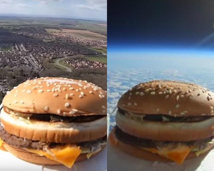 汉堡包被送上太空,并到达大气层中的平流层。网图