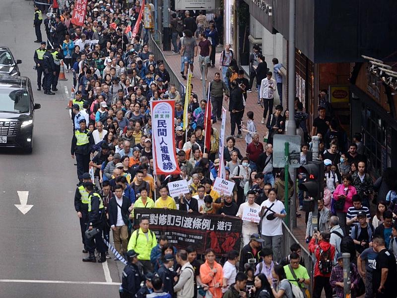 泛民主派昨天發起遊行,反對《逃犯條例》。