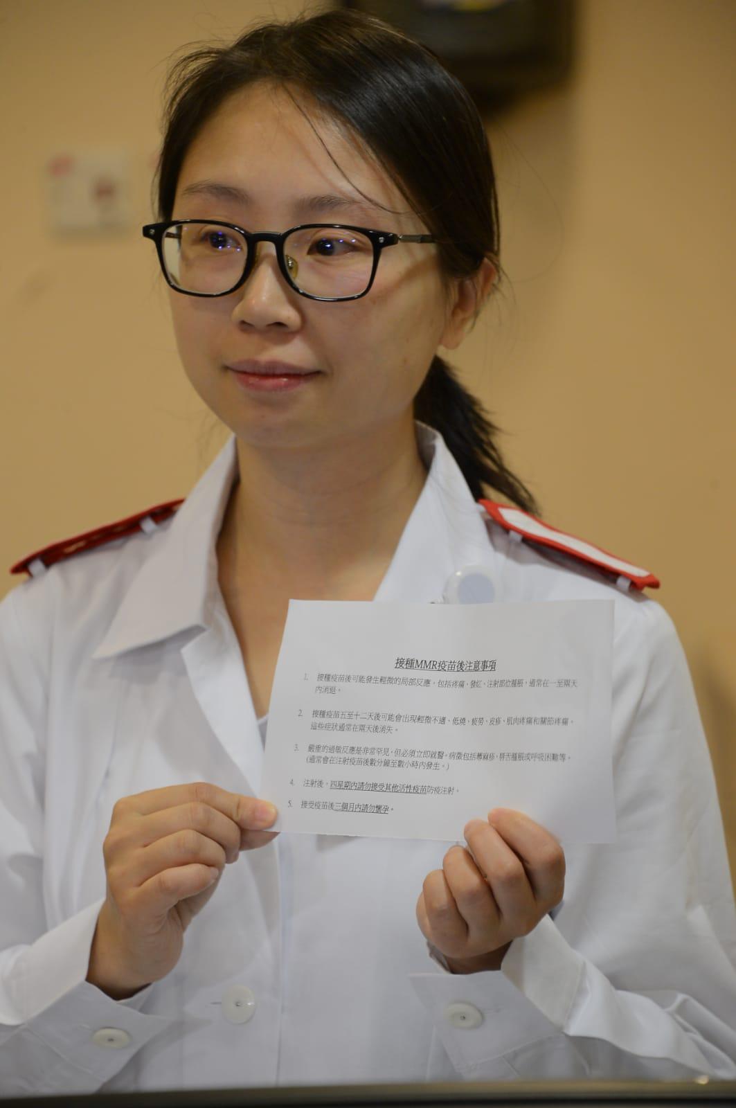 港島東聯網家庭醫學及基層醫層服務部資深護師林鴻凰。