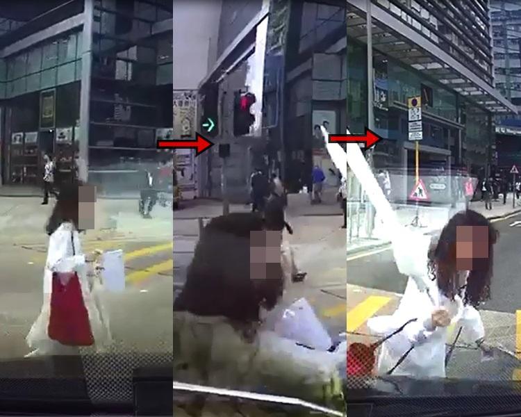 一名私家车司机疑收掣不及,撞向一名乱过马路的少女。影片截图