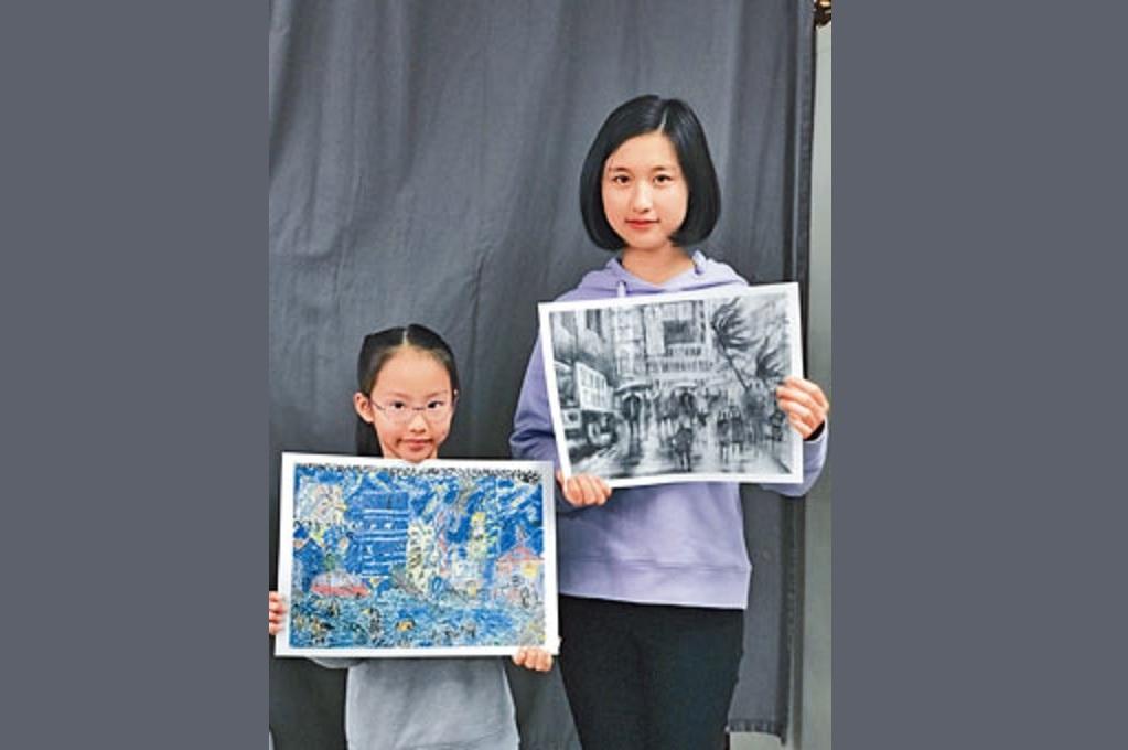 8歲的陳凱嵐以描繪「山竹」襲港時的情景,在圖畫組別中奪得全場總冠軍。