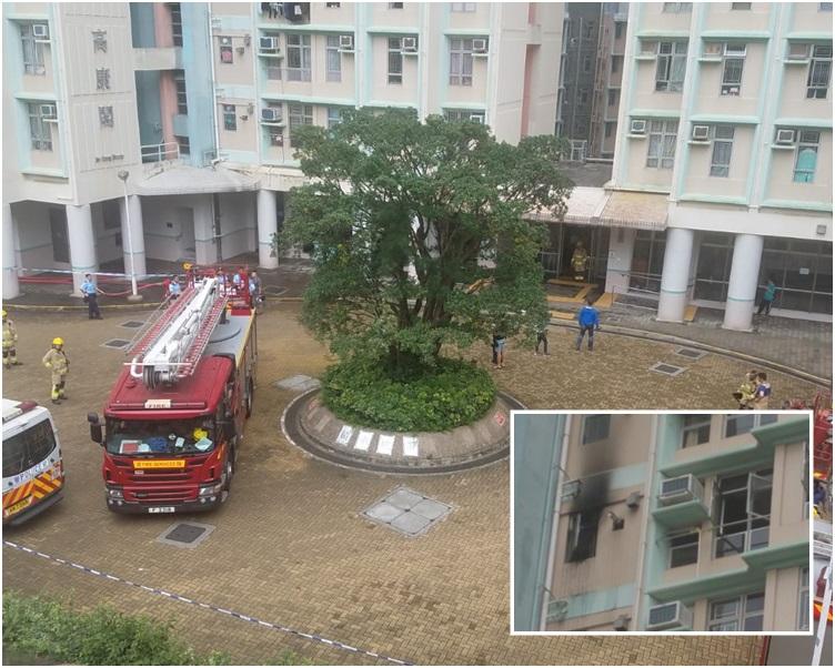 12樓一個單位廚房起火。歐陽偉光攝