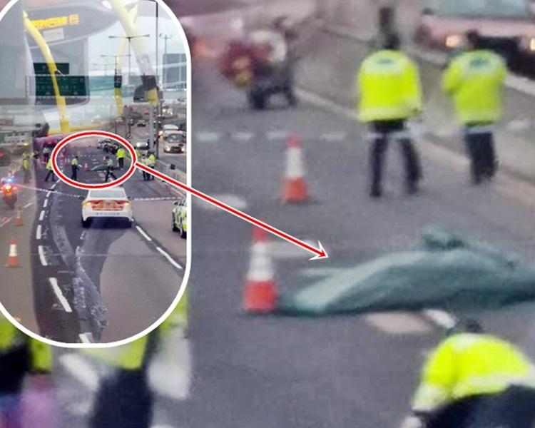 老翁在東區走廊被車撞斃。網民Alan Chan/ fb群組「香港交通突發報料區」