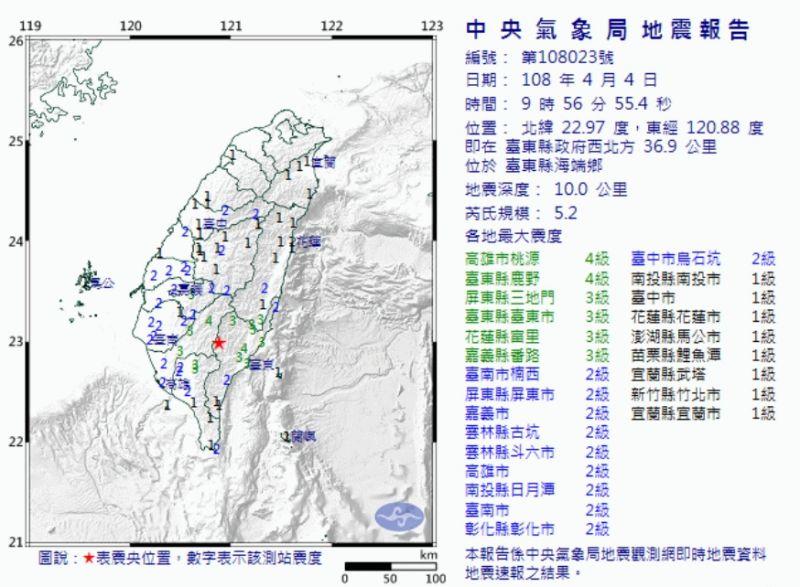 台灣氣象局網站。