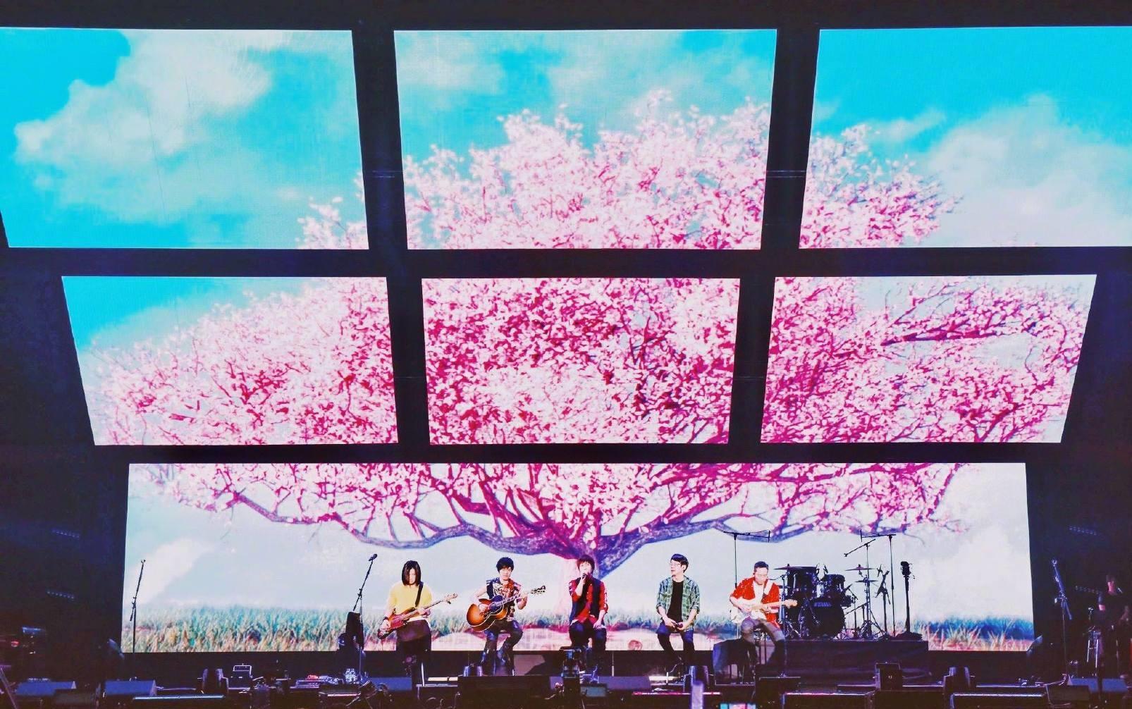 五月天大阪在LED屏幕櫻花海下開唱。網上圖片