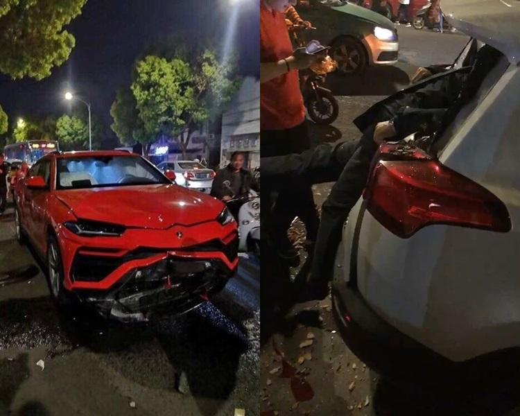 林寶堅尼(左)車頭損毀、電單車司機遭撞飛插入車窗(右)。網圖