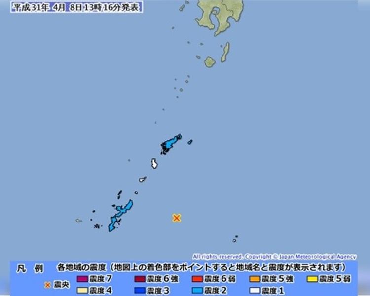 沖繩對出海域於8日下午發生黎克特制5.5級地震。網圖