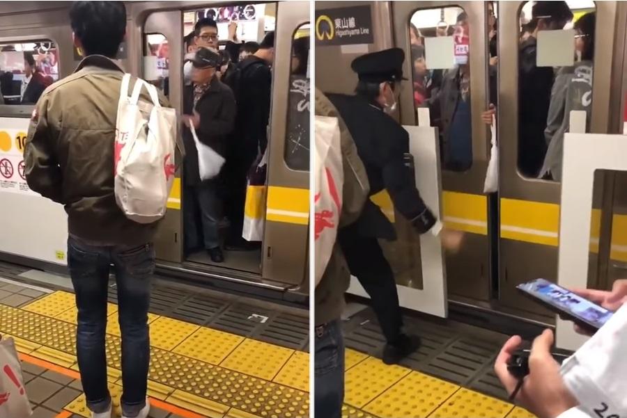日本一名老翁在乘搭地铁时故意让车门夹住他的手,使车门不停地重覆开关。 影片截图