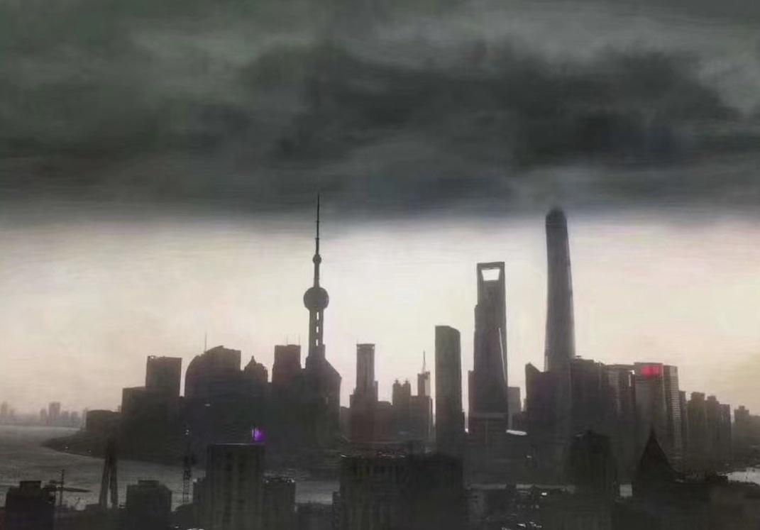 上海下午忽然黑雲遮天蔽日。網上圖片