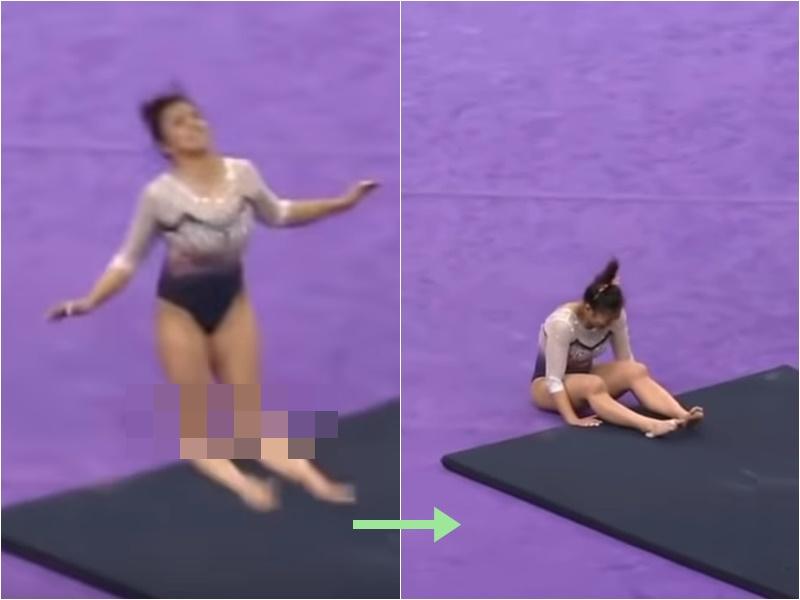 女体操选手Samantha Cerio恐怖断脚意外。影片截图