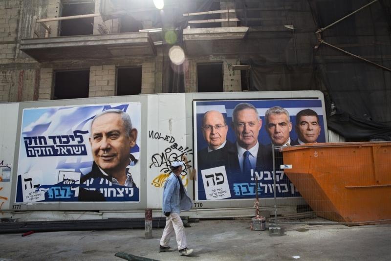 以色列票站调查显示,大选中两个主要政党取得的议席相当接近,没有明显优势。