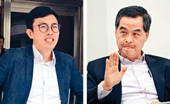 吳文遠(左)發起眾籌登廣告反擊梁振英(右)後,遭對方舉報。