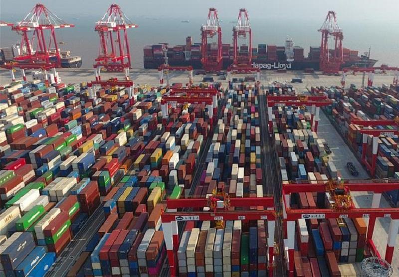 中美貿易談判仍在進行之際 。新華社圖片