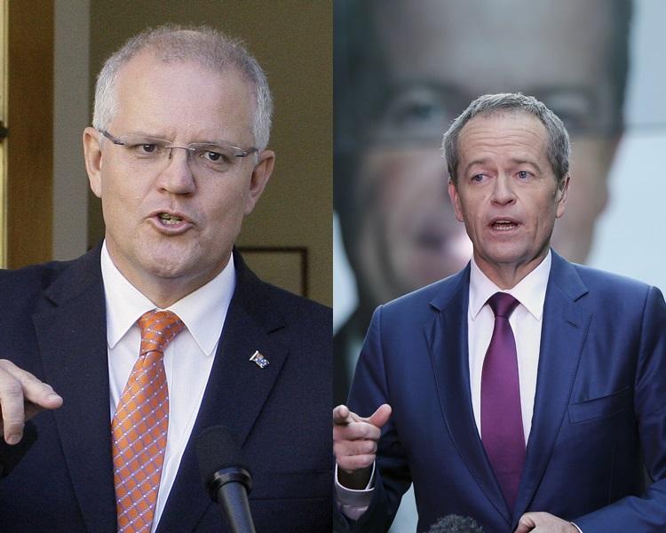 澳洲总理莫理森(左)、反对党工党领袖肖顿(右)。