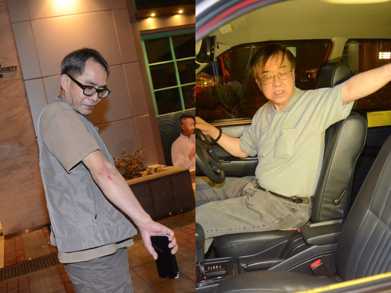姓戴的士司機(左)追賊受傷;姓陳的士司機(右)。