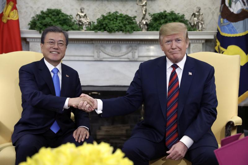 特朗普晤文在寅討論北韓核問題。AP