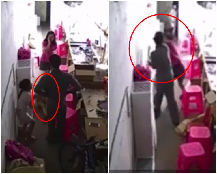 男子當著兩名女兒面家暴妻子。網圖