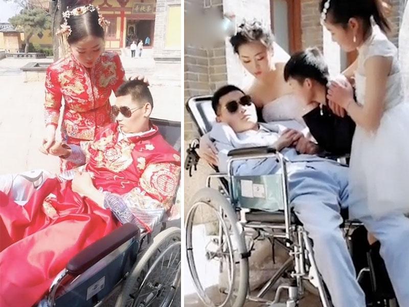 張娟與曹穿穿的婚照感動無數網民。(網圖)