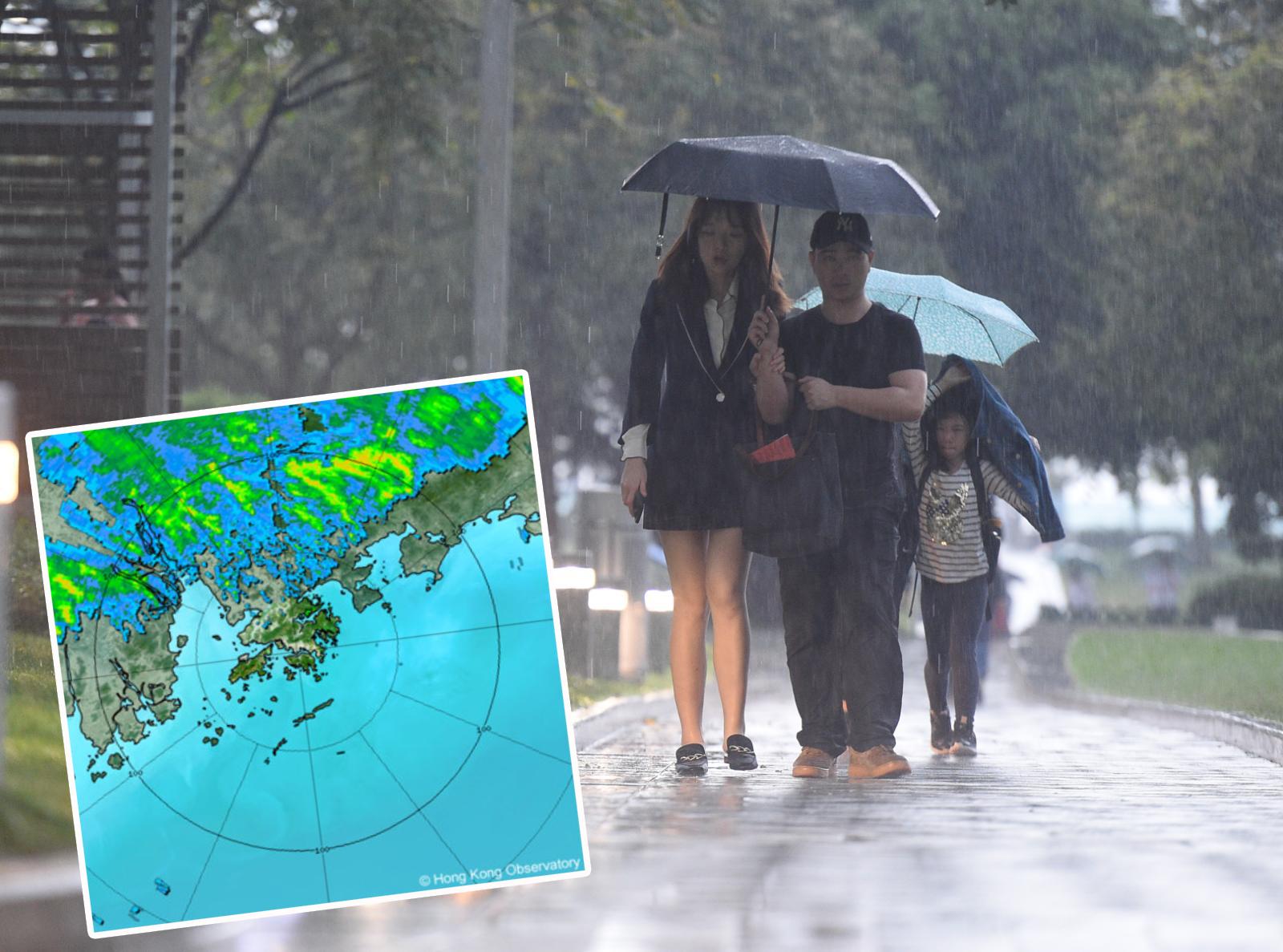 位於廣東內陸的一道雷雨帶正逐漸向南移動,可能會在未來一兩小時影響本港。 資料圖片及天文台網頁截圖