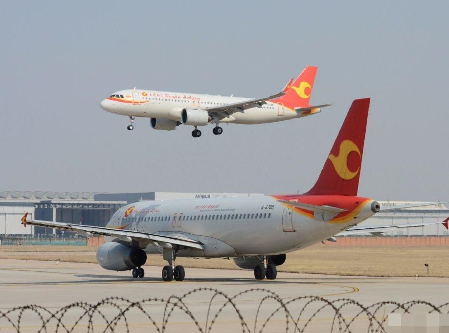 航班延誤兩小時後終起飛。天津航空微博圖片