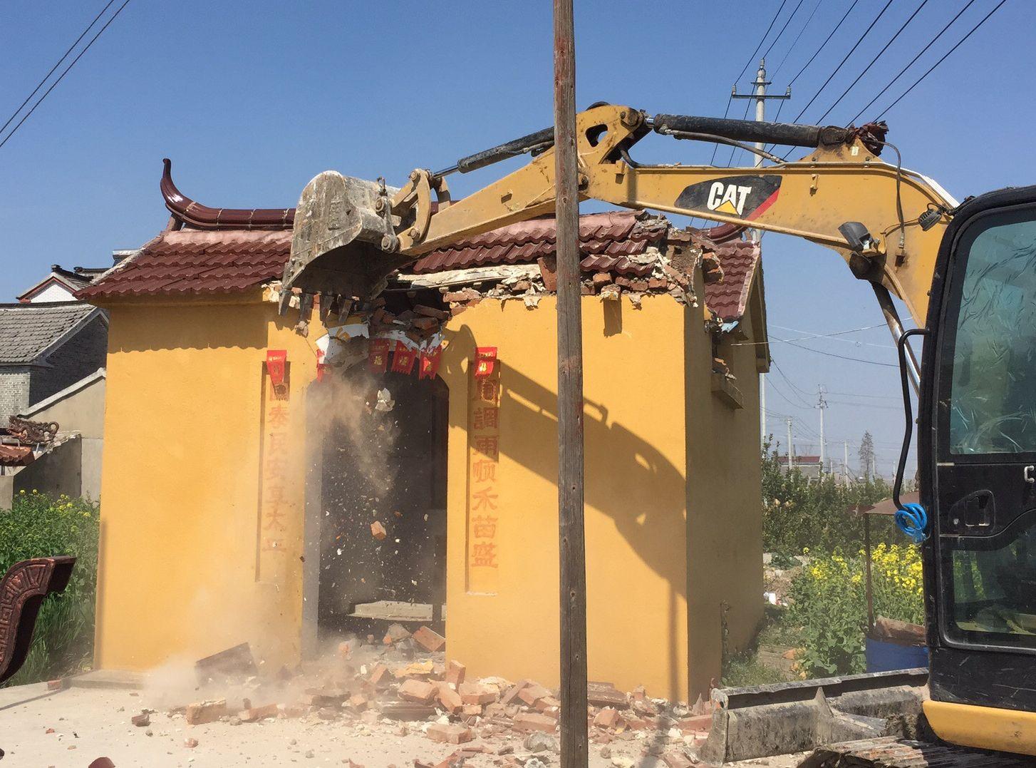 高郵市僅僅26天就拆毀全市5911座土地廟。網圖