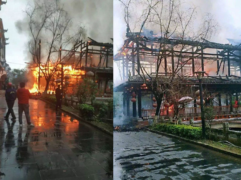 廣西忻城「狀元橋」失火燒毀,竟是3名學生生火取暖引起。(網圖)
