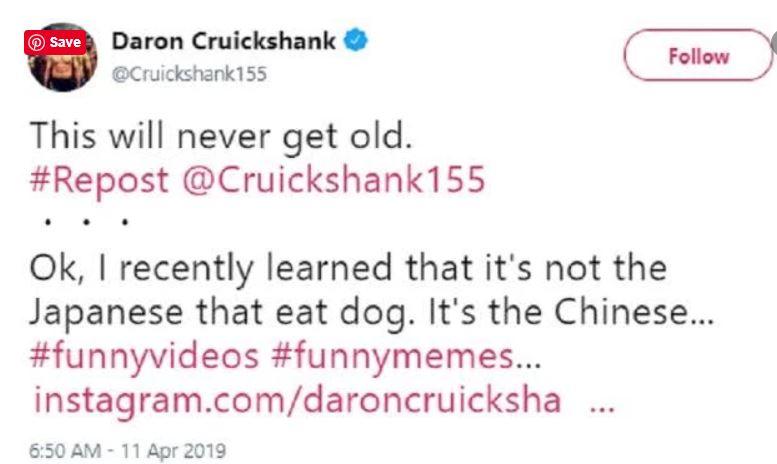 克鲁克尚克其后更正「应是中国人吃狗肉」。