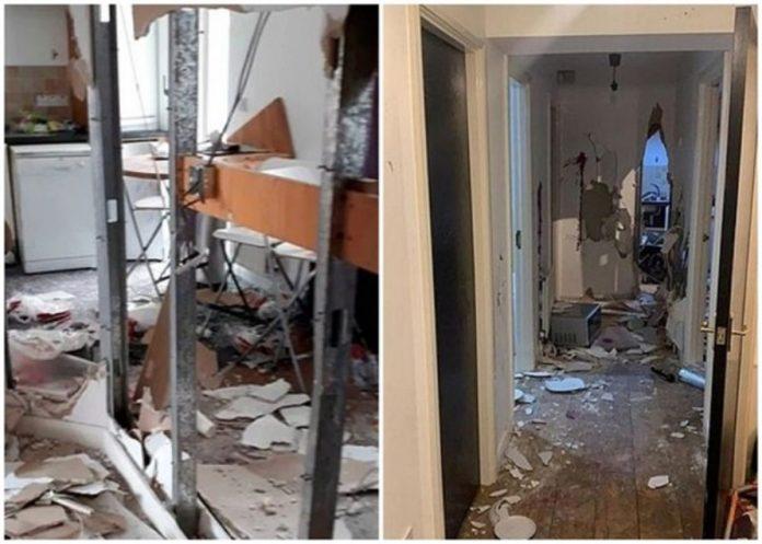 室內傢俬盡毀,屋內一幅牆壁更被打穿。 網圖