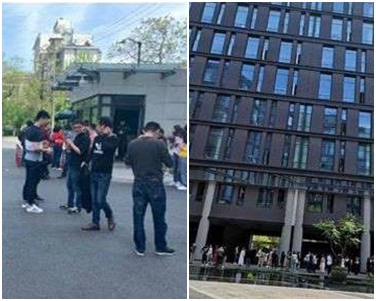 杭州民眾走到空地避難。微博