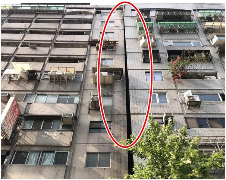 台北市信義區再有大樓傾斜。網圖