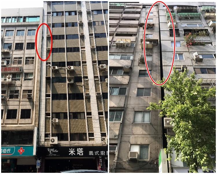 台北市有2座大樓因地震而傾斜。網圖
