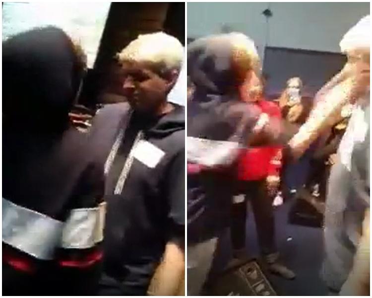 牧師請學生吐口水(左)及掌摑他(右)。影片截圖