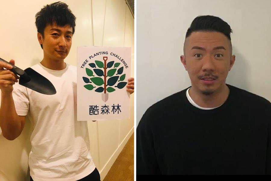 張繼聰、方力申為香港地球之友於本月28日舉行之「酷森林」拍攝宣傳片。