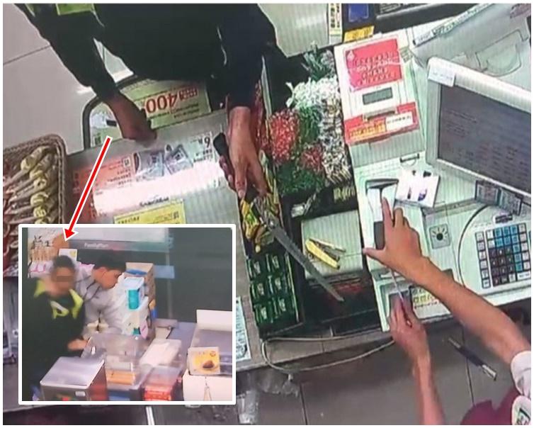 男子持刀打劫便利店,被警方制服拘捕。網圖