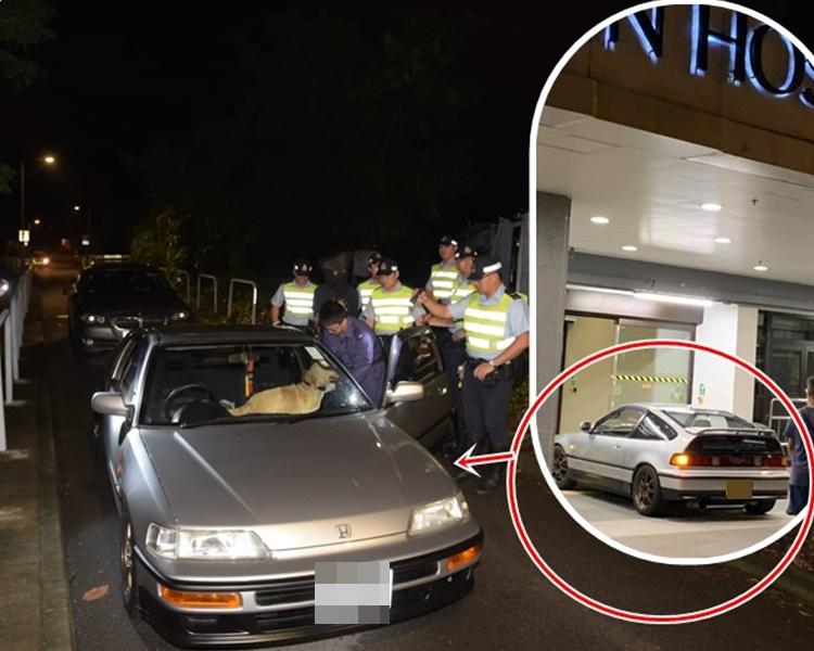 小圖:男子日前曾駕駛同一私家車大閙屯門醫院。香港突發事故報料區網民Eric Yeung圖片