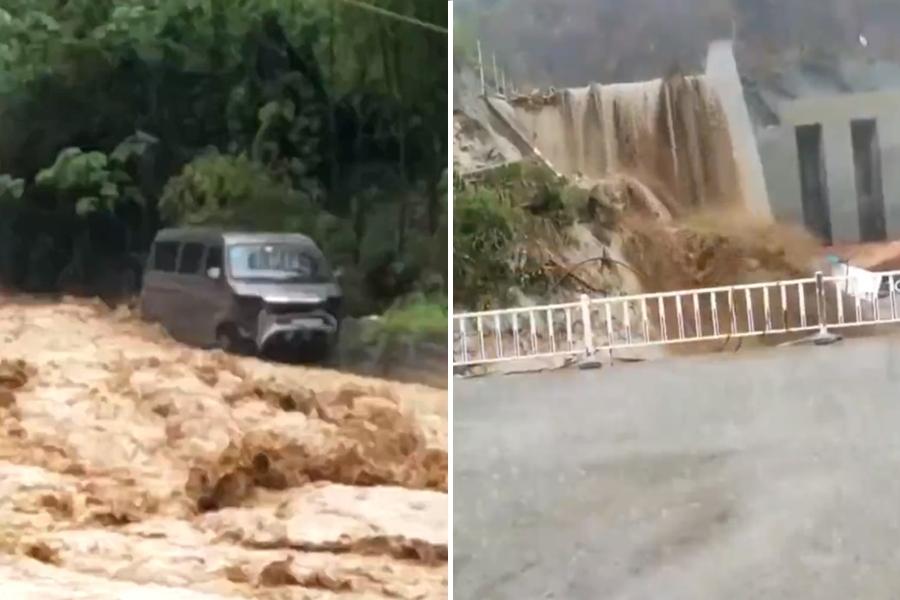 重慶昨日突降暴雨,引發山泥傾瀉。  影片截圖