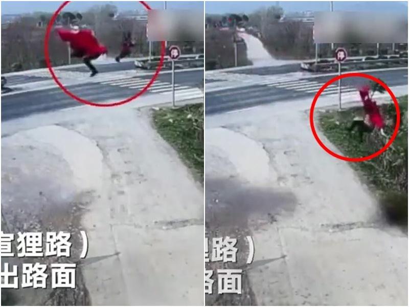 汽車失事,被拋飛10米外。  影片截圖