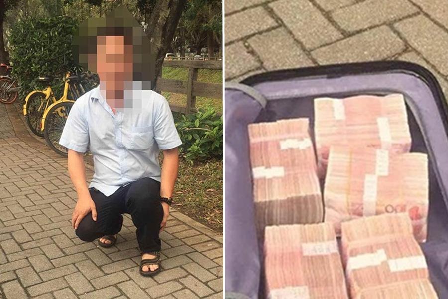 姓馮司機飯也不吃,駕車把載有50萬現金的行李箱送到失主手裡。  網上圖片