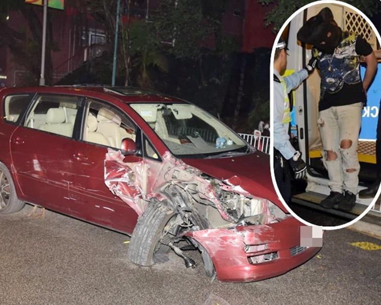 七人車前輪幾乎甩脫。 小圖為被捕司機。
