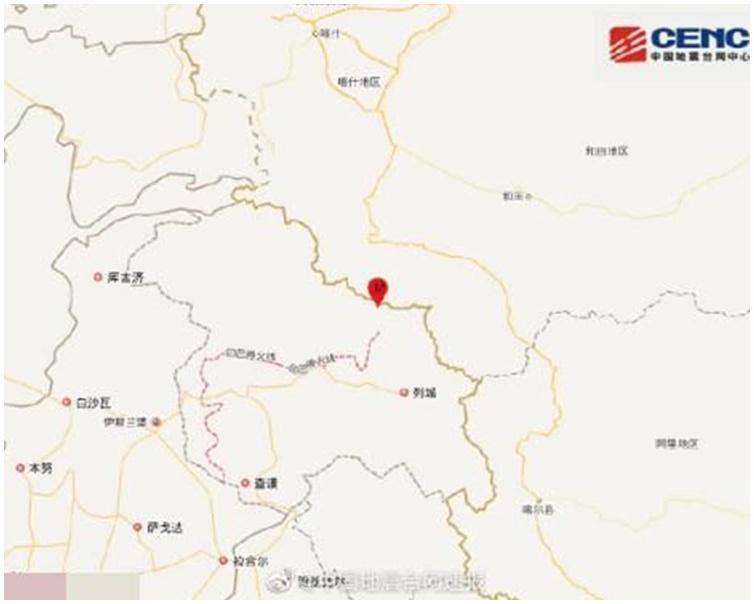 地震發生在新疆喀什地區葉城縣。圖:國家地震台網官方微博