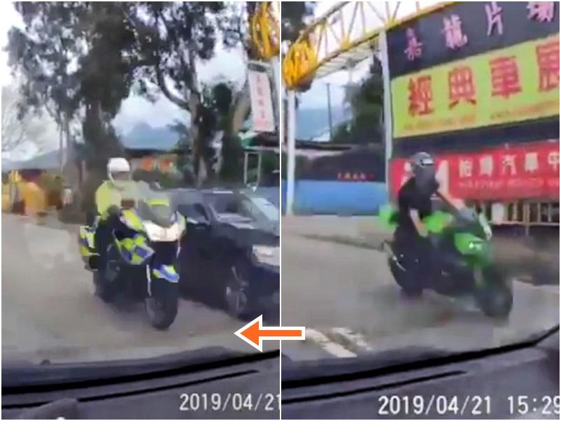 事發前鐵騎士(右圖)被交通警(左圖)追捕。影片截圖